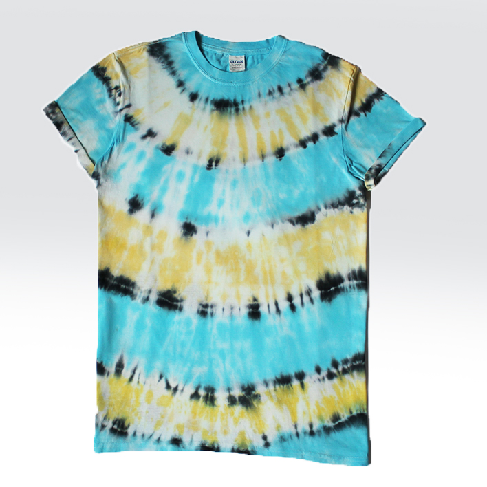 yellow and blue tiedye tshirt