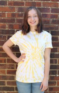 EV Designs yellow tie-dye t-shirt