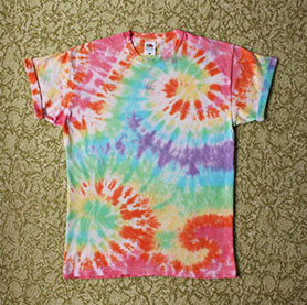 EV Designs Tie-dye t-shirt on the floor
