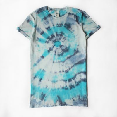 EV Designs UK tropical blue and navy bullseye tiedye tshirt handmade gift