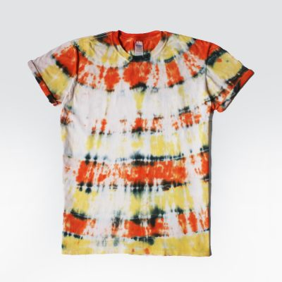 V Designs UK Tiedye tshirt orange yellow colourful fun large gift handmade