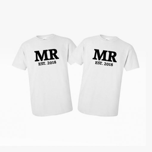 MR and MR gay pride white tees custom order wedding present matching cute couple goals EV Designs UK tshirts gifts