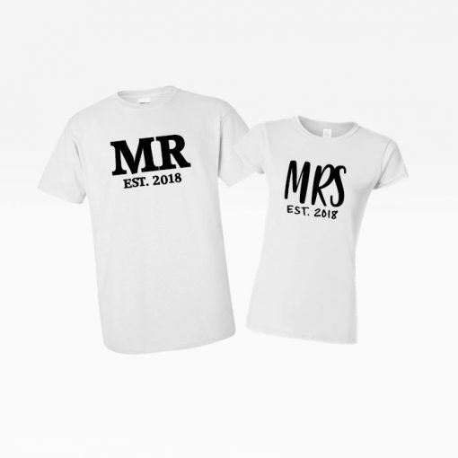 MR and MRS white tees custom order wedding present matching cute couple goals EV Designs UK tshirts gifts
