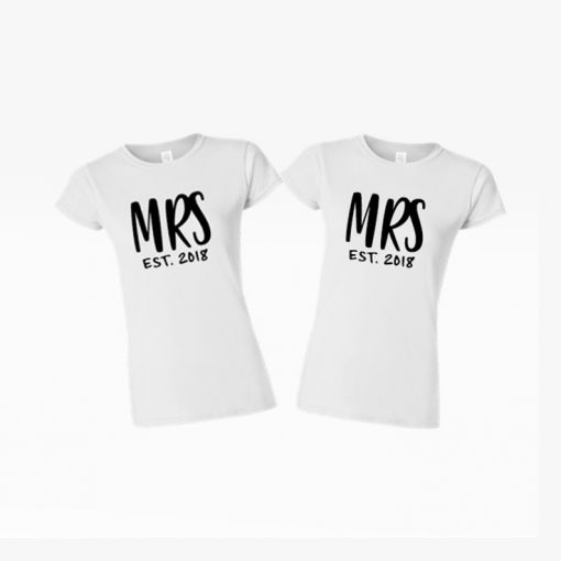 MRS and MRS white tees custom order wedding present matching cute couple goals EV Designs UK tshirts gifts