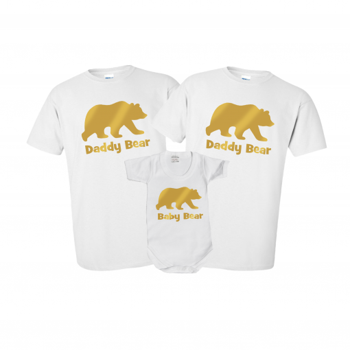 mummy daddy and baby bear tshirt matching set gift family goals cute matching set ev designs uk clothing christmas present ideas gay pride gay dads