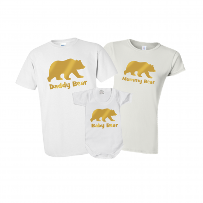 mummy daddy and baby bear tshirt matching set gift family goals cute matching set ev designs uk clothing christmas present ideas