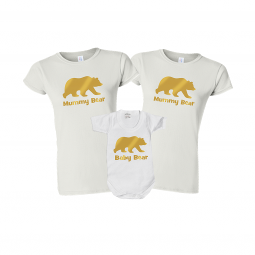 mummy daddy and baby bear tshirt matching set gift family goals cute matching set ev designs uk clothing christmas present ideas gay pride gay dads lesbian mums gay mummies