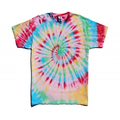 rainbow spiral tee tie-dye hippy boho festival fashion hipster surfer ev designs uk clothing brand evie wells