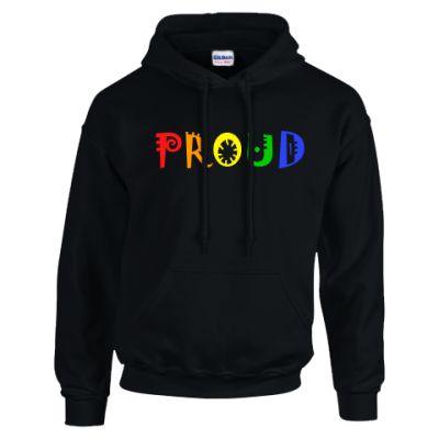 PROUD hoodie gay pride happy EV Designs UK Clothing brand black hoodie hipster fashion clothing