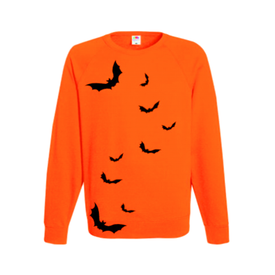 bat sillhouette jumper sweater halloween ev designs uk festive orange