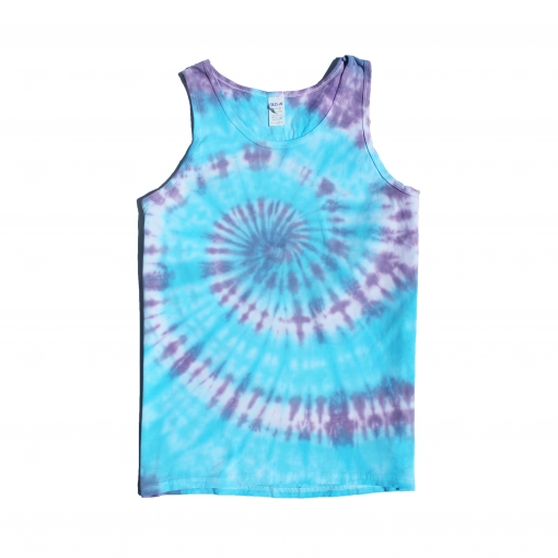 blue and purple large rainbow spiral vest ev designs uk small tiedye clothing brand festival fashion alternative surfer skateboarder skateboarding surfing cornwall beachy