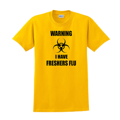 freshers flu tshirt tee funny comic great gift present ideas uni unidays uni student freshers september ev designs uk clothing brand