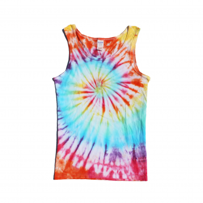 rainbow spiral vest ev designs uk small tiedye clothing brand festival fashion alternative surfer skateboarder skateboarding surfing cornwall beachy
