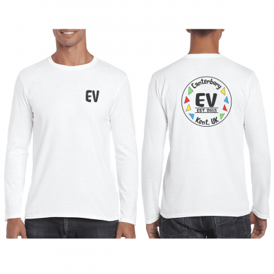 EV Designs UK logo printed long sleeved tshirt