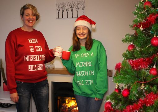 ONLY MORNING PERSON ON 25TH RED and green sweater christmas jumper gildan ev designs uk