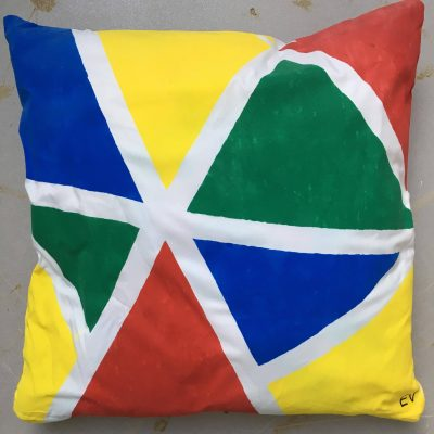 EV Designs UK hand printed cushion cover multi colour triangles