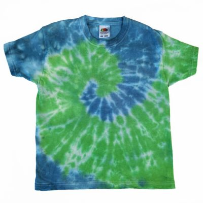 5-6 years blue and green tiedye tshirt evdesignsuk