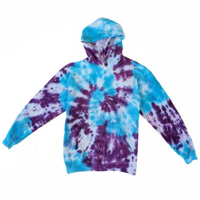 purple and blue tiedye sprial hoodie kids 12-13 years evdesignsuk