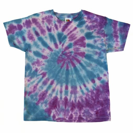 blue and purple tiedye kids tshirt 7-8 years evdesignsuk
