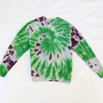 GREEN AND PURPLE TIEDYE SWEATER SPIRAL PATTERN EVDESIGNSUK