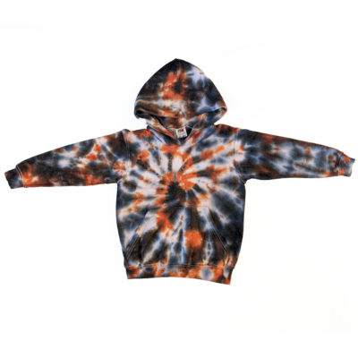 black and orange tidye spiral hoodie sweater jumper kids age 5-6 years evdesignsuk