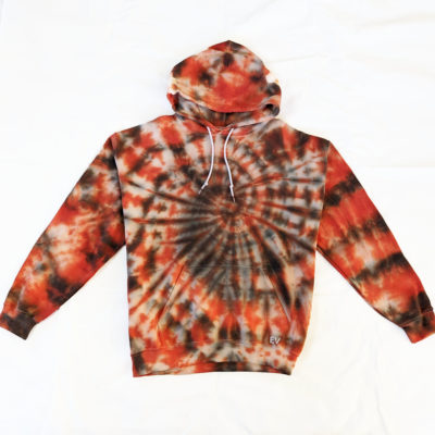 orange and black spiral pattern tiedye hoodie jumper evdesignsuk