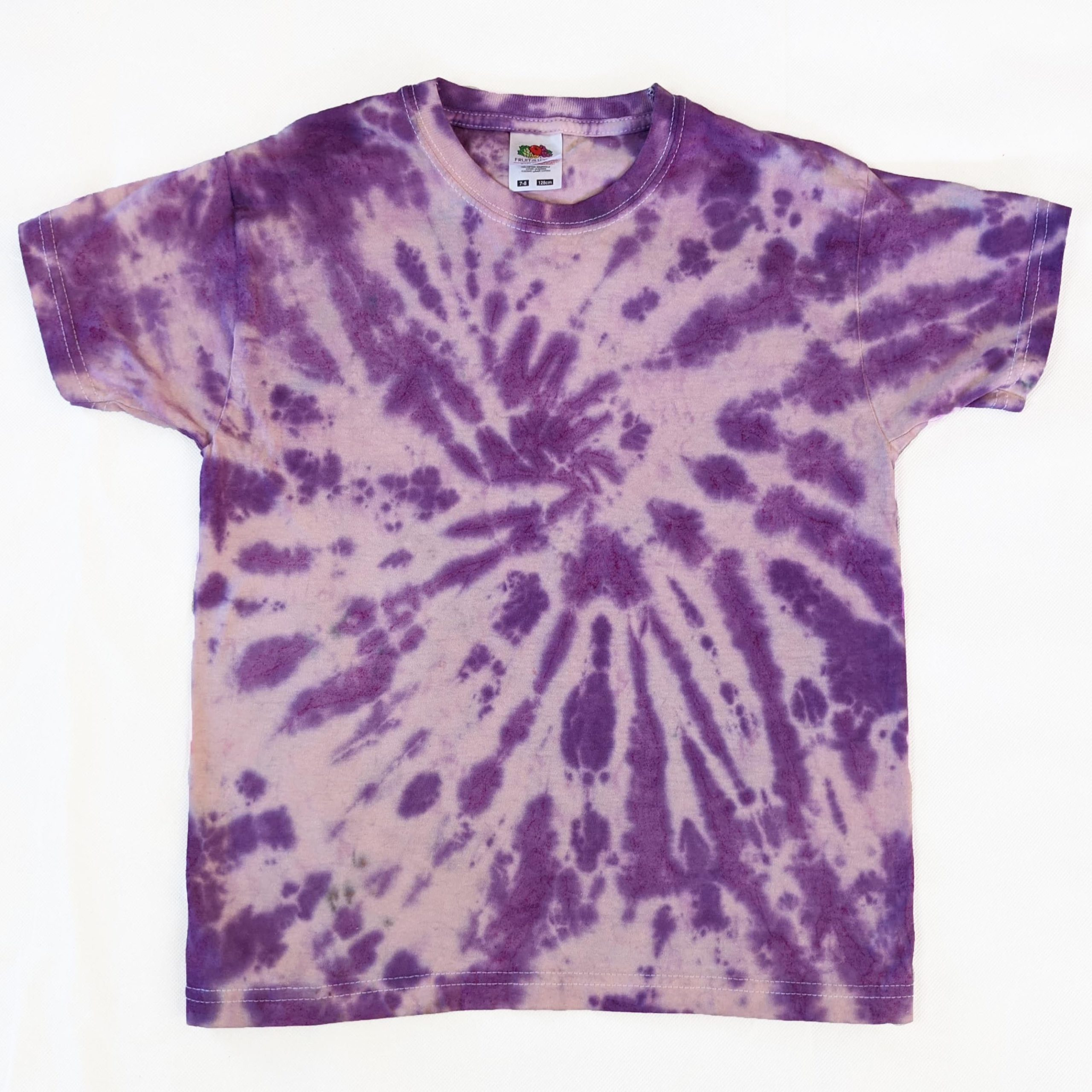 purple tiedye spiral kids tshirt 7-8 years evdesignsuk