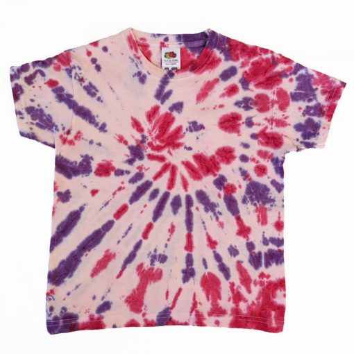 purple and red tiedye spiral tshirt evdesignsuk 5-6 years
