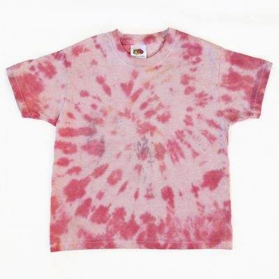 red tiedye spiral kids tshirt 3-4 years evdesignsuk