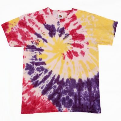 yellow, red and purple tiedye tee 12-13 years evdesignsuk