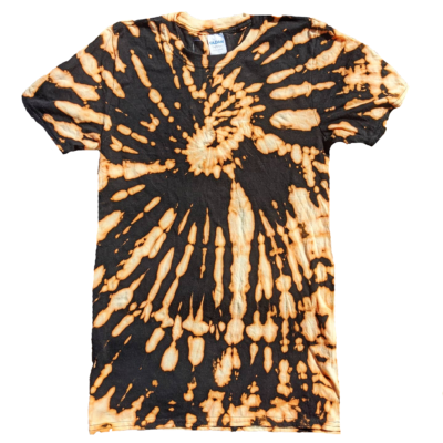 bleach tiedye tee tshirt edgy style ev designs uk black and orange