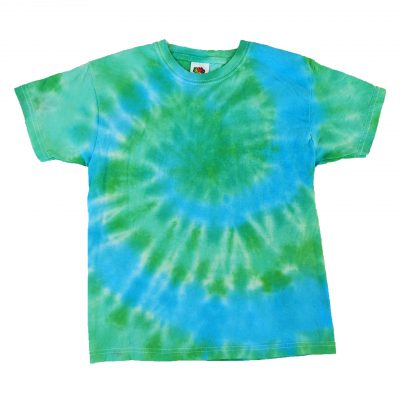 blue and green tiedye spiral kids tee 7-8 years ev designs uk