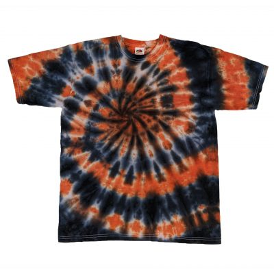 black and orange tiedye spiral tshirt14-15 years ev designs uk gifts for teenagers festival fashion