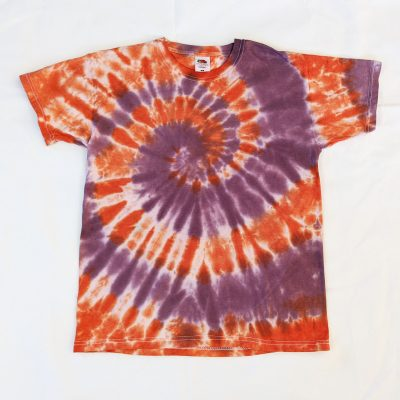 ev designs uk orange and purple tiedye spiral tshirt tee